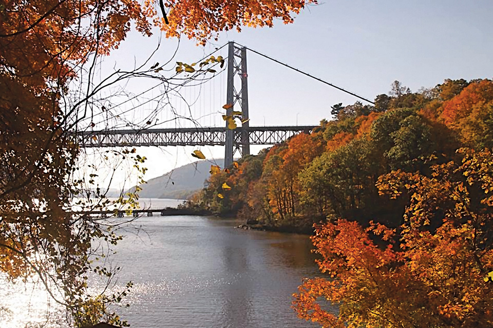 Bear Mountain Bridge with river and colorful leaved trees