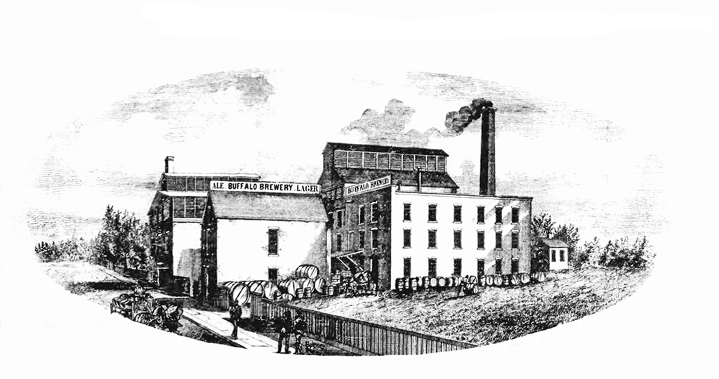 black and white etching of Buffalo Brewing