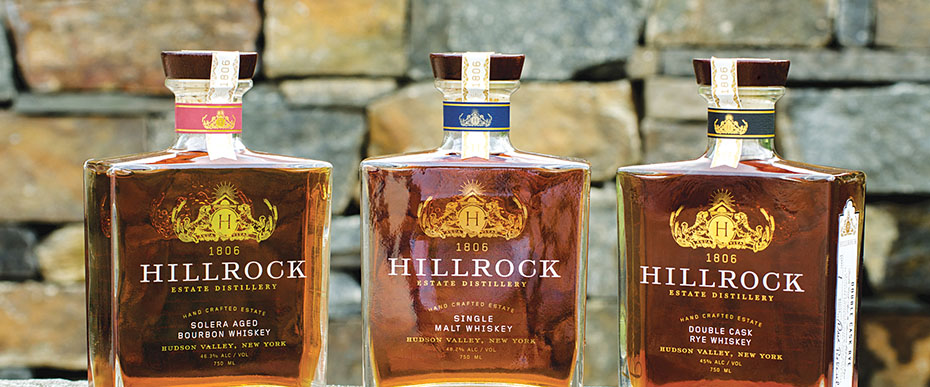 Three bottles of Hillrock whiskey
