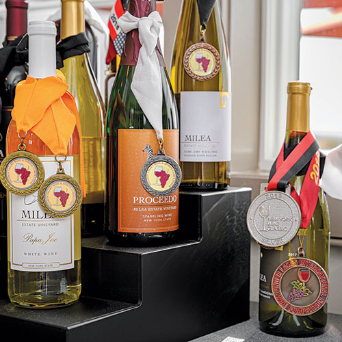 bottles of Milea wines with medals hanging on necks
