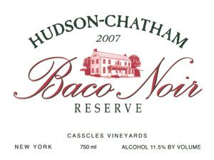 photo of 2007 Baco Noir Reserve wine label, from Hudson-Chatham Winery