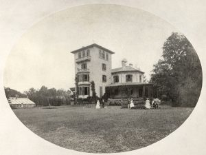 view of the west facade of Locust Grove, with the Morse family, circa 1870