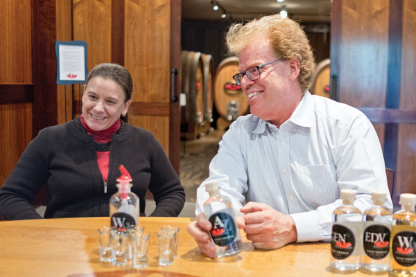 view of Stephen Osborn and Kimberly Wagner, at Stoutridge Vineyard & Distillery.