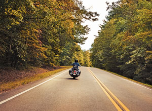photo of the rear of a motorcyle and driver, on a road, with fall foliage.