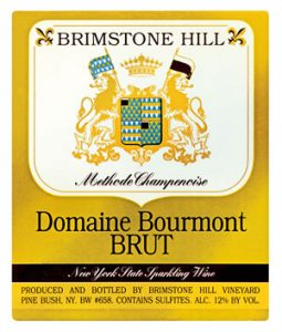 label for Domaine Bourmont Brut Sparkling Wine, from Brimstone Hill Vineyard