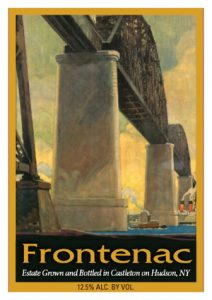 view of the label for Frontenac from Brookview Station Winery.