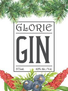 Glorie Gin label from Glorie Farm Winery.
