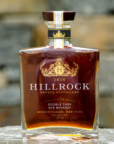 Bottle of Double Cask Rye Whiskey from Hillrock Estate Distillery.