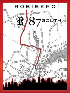 87 South wine label, from Robibero Vineyards.