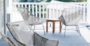 photo of porch with chairs, at the Vanderbilt Lake House.
