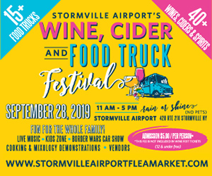Graphic ad for Stormville Airport's Wine, Cider and Food Truck Festival.