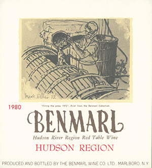 1980 Benmarl wine label with illustration of man pouring wine into barrel