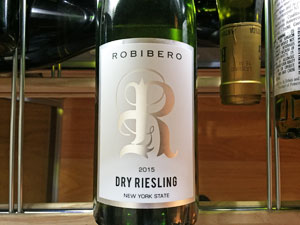 Label on Robibero Winery's dry riesling on shelf in wine refrigerator.
