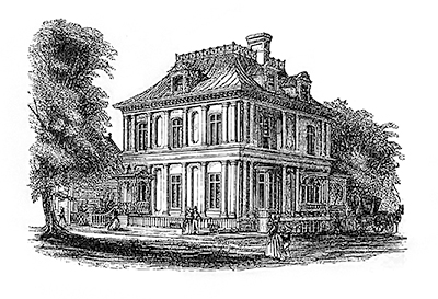 black and white etching of victorian style house