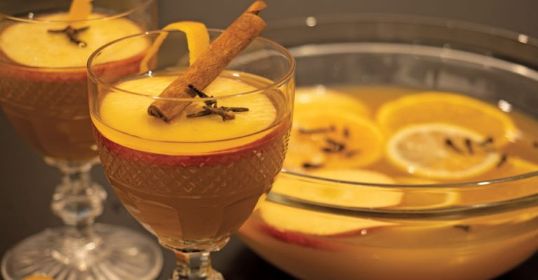 closeup of glass of hot apple cider with cinnamon stick and apple garnish with bowl of drink in the background