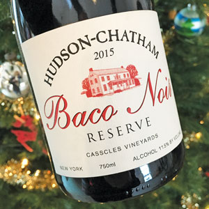 close up photo of wine bottle and wine label – Baco Noir Reserve, from Hudson-Chatham Winery.