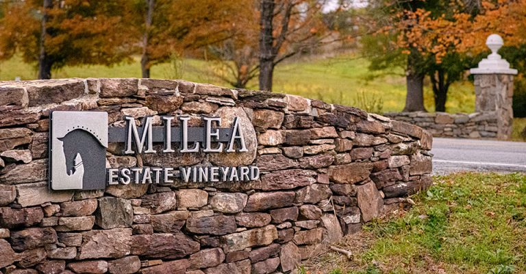 Curved rock wall with Milea Estate Vineyard logo in metal