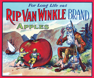 colorful crate label from Rip Van Winkle brand apples