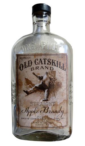empty vintage bottle of Old Catskill apple brandy