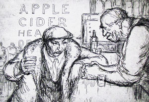 vintage black and white illustration of man and bartender in a bar