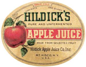 vintage oval label from Hildicks apple juice