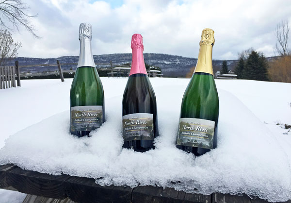 three bottles of wine in snow with mountains in the background