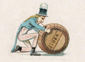 vintage cartoon of Uncle Sam with cider barrel