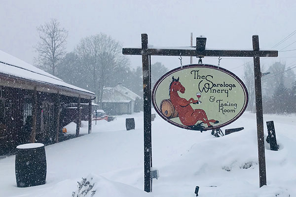 winery sign in snow