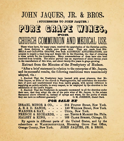 vintage ad from Jaques Bros. winery