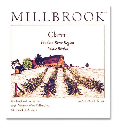 millbrook claret wine label