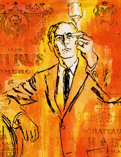 line-drawing illustration of a man  on orange background