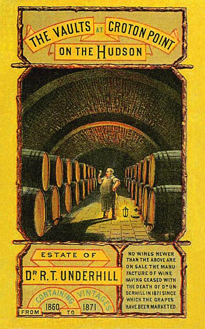 vintage advertising card showing underground wine vault