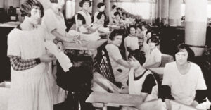 vintage photo of female factory workers