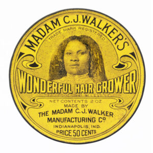 round vintage label of Madame C.J. Walker's hair care product