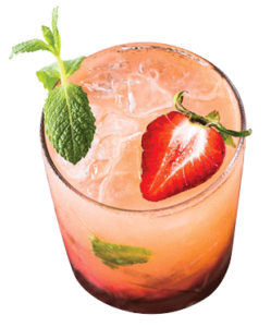 pink cocktail with strawberry and mint on white backkground
