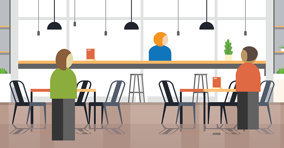illustration showing inside of restaurant and three cartoon people