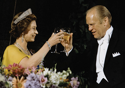President Gerald Ford toasting Queen Elizabeth II.
