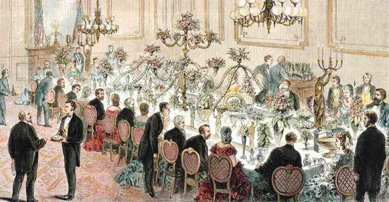 vintage illustration of Ulyses S Grant State Dinner at the White Houser