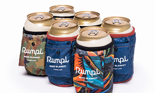 six pack of cans with colorful wraps