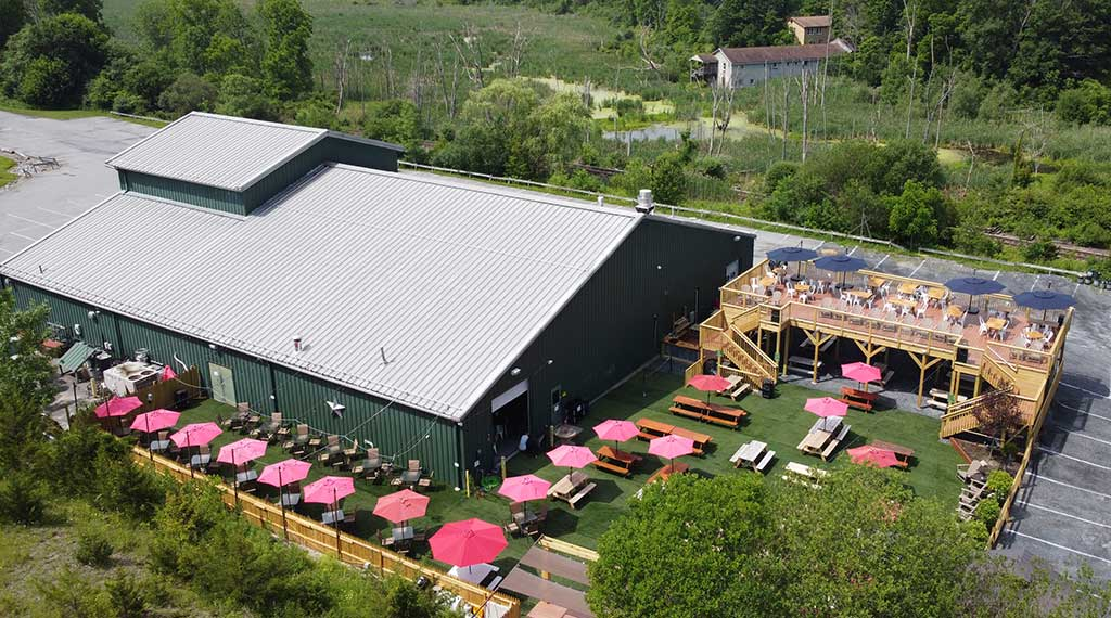overhead view of venue with picnic tables