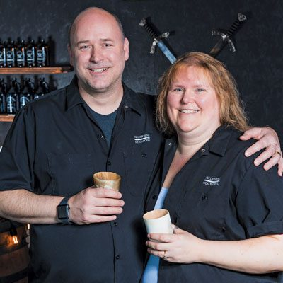 owner of Herderberg Meadworks with his wife